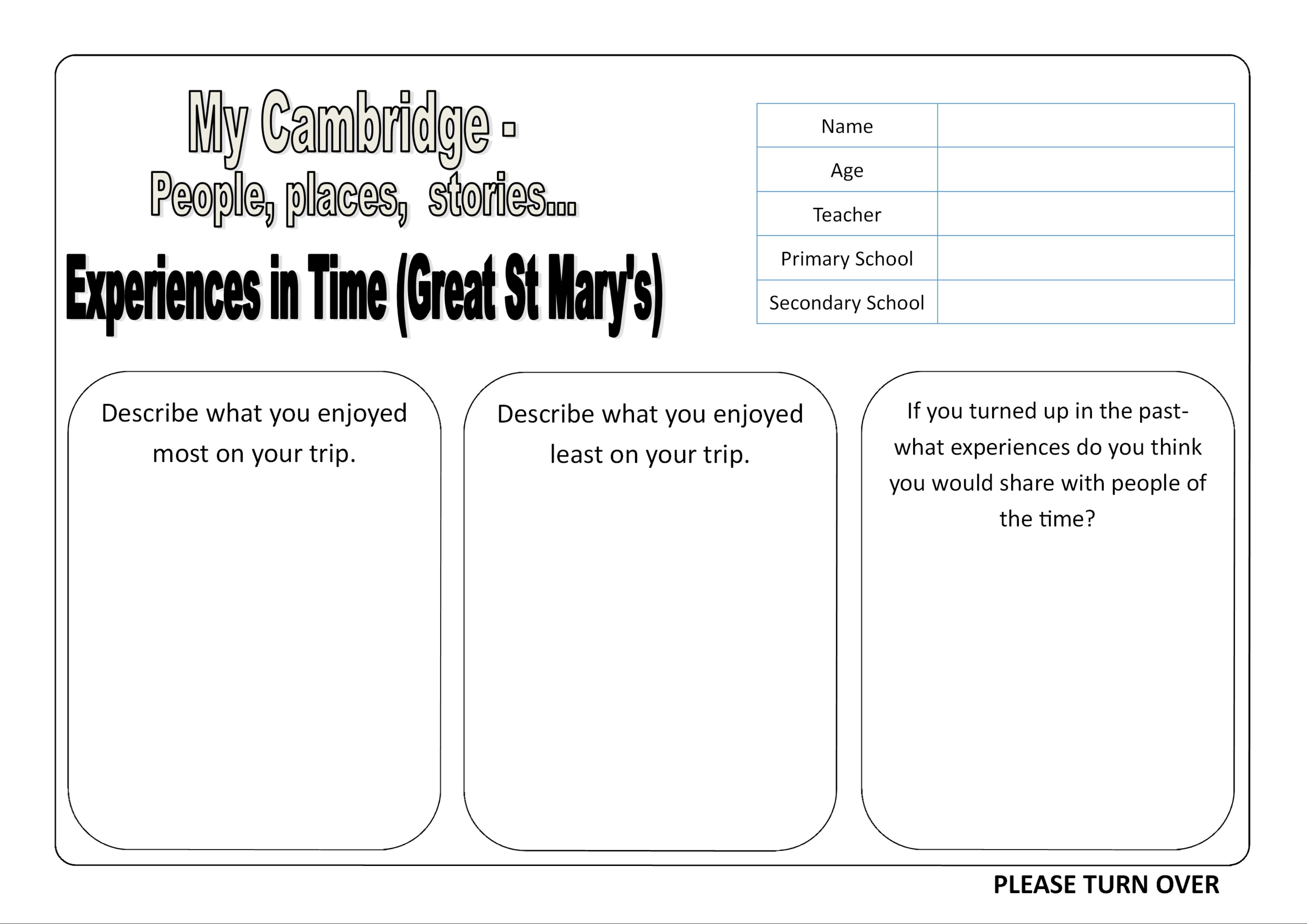 Great st marys worksheets creating my cambridge including a timeline of cambridge history and a worksheet to help guide childrens creative writing and illustrative work about what they can see and ibookread Read Online